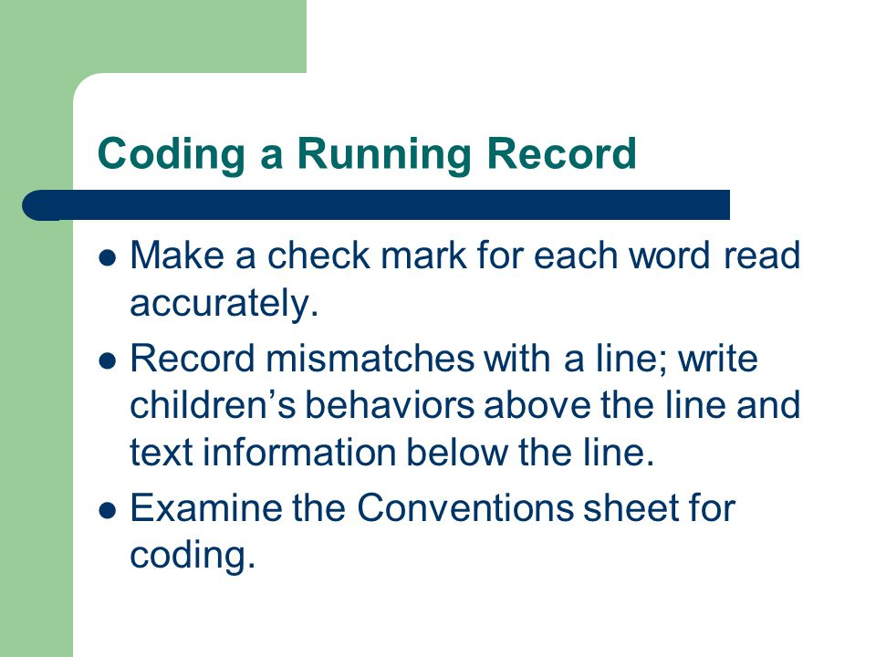 Coding a Running Record