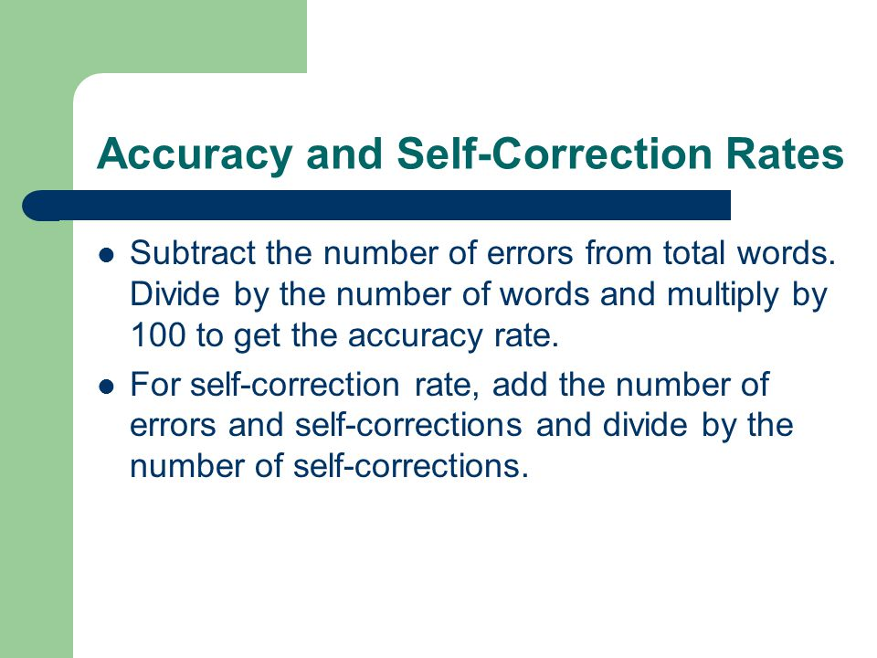 Accuracy and Self-Correction Rates