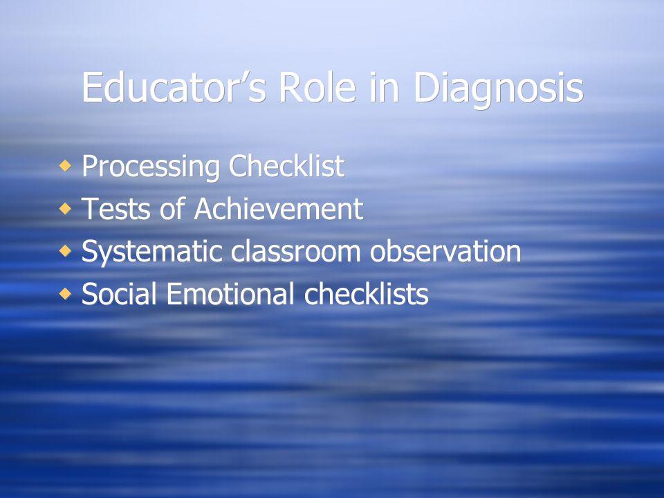 Educator's Role in Diagnosis