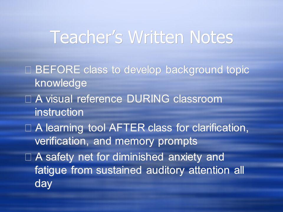 Teacher's Written Notes
