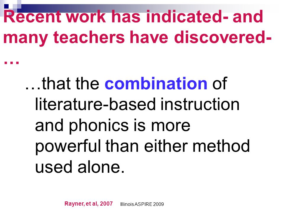 Recent work has indicated- and many teachers have discovered-…
