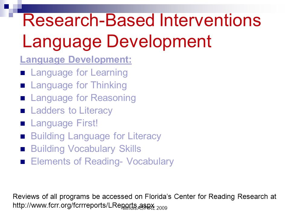 Research-Based Interventions Language Development