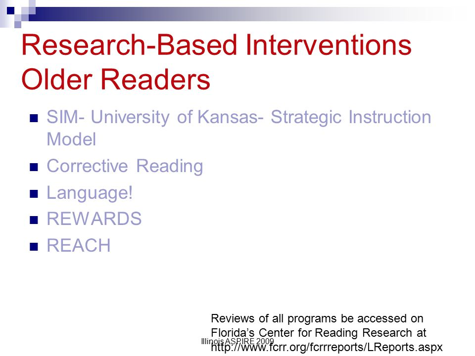 Research-Based Interventions Older Readers