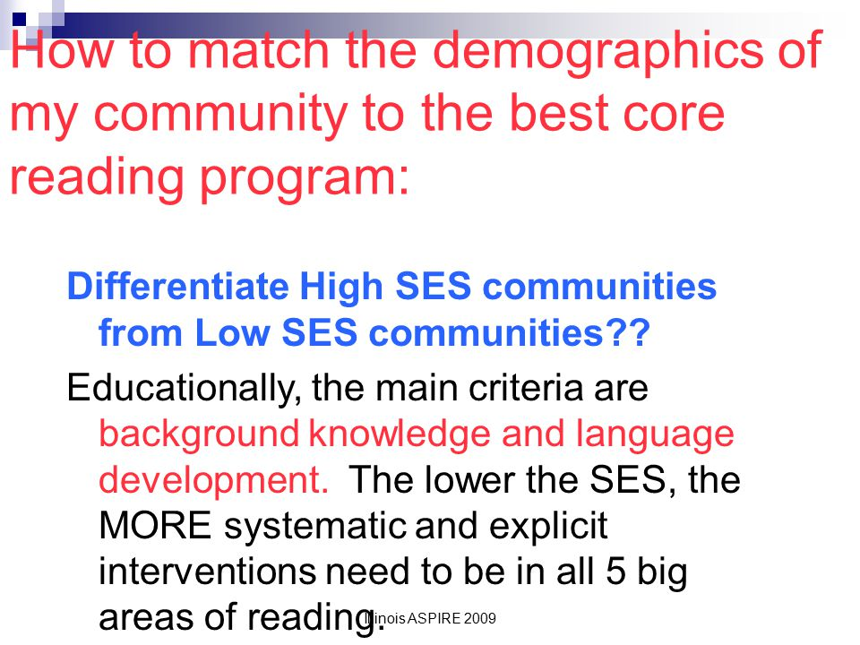 How to match the demographics of my community to the best core reading program:
