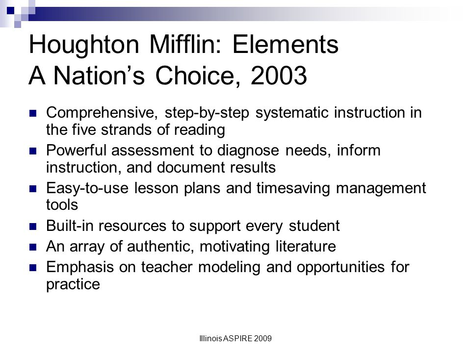 Houghton Mifflin: Elements A Nation's Choice, 2003