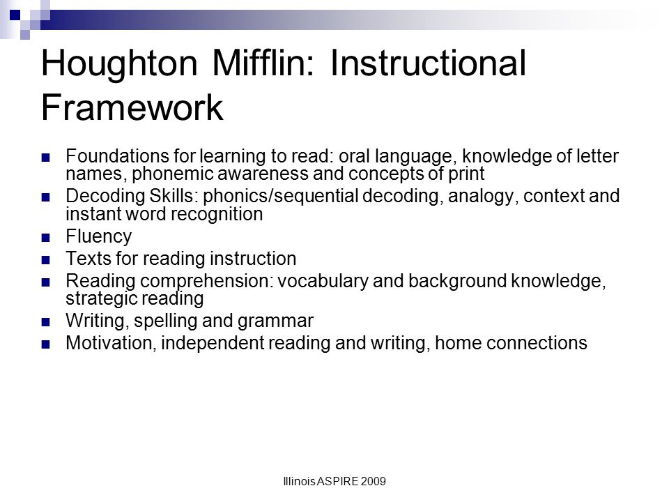 Houghton Mifflin: Instructional Framework