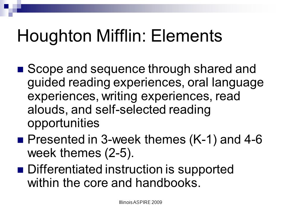 Houghton Mifflin: Elements