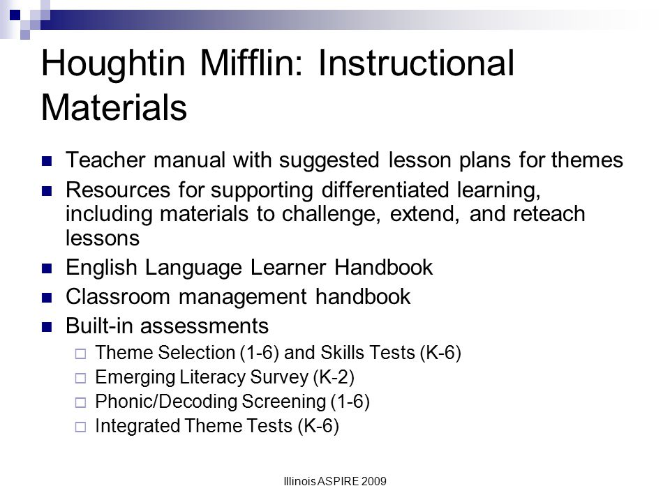 Houghtin Mifflin: Instructional Materials
