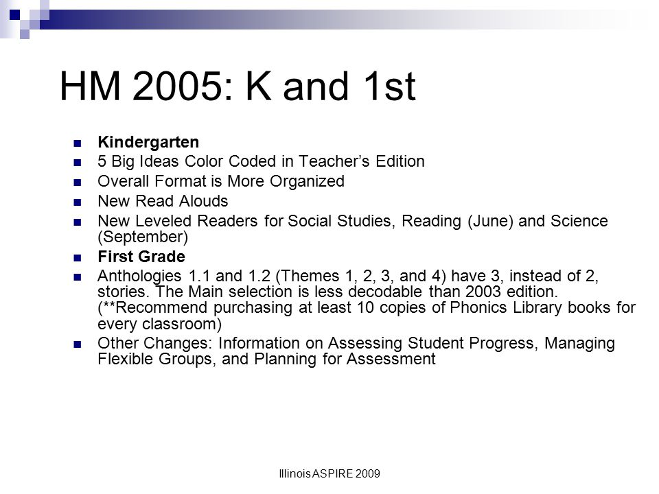 HM 2005: K and 1st Kindergarten