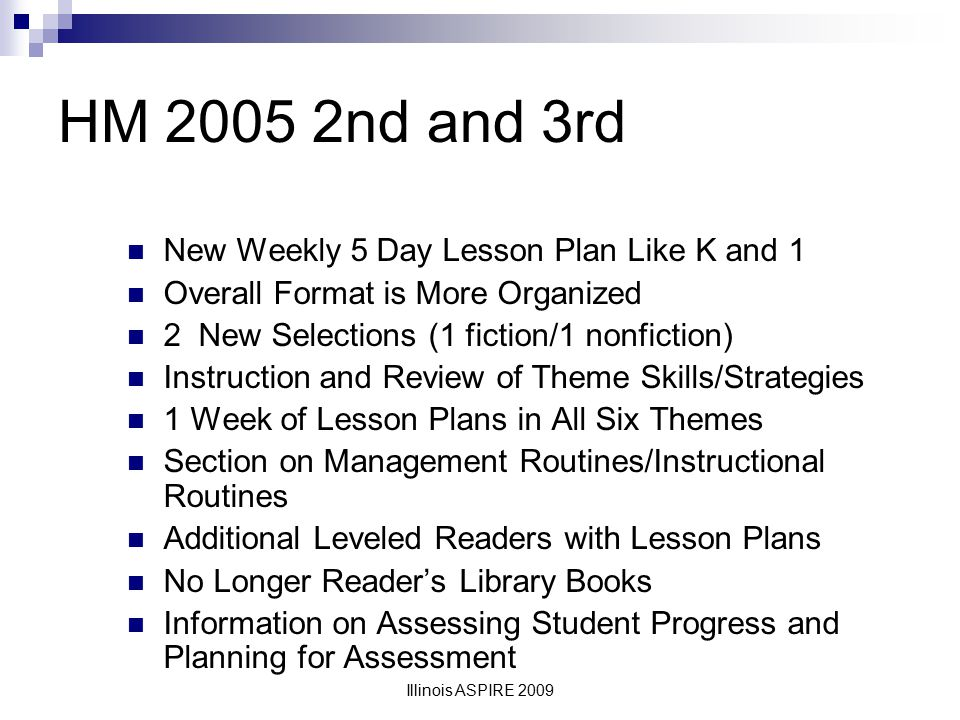 HM 2005 2nd and 3rd New Weekly 5 Day Lesson Plan Like K and 1