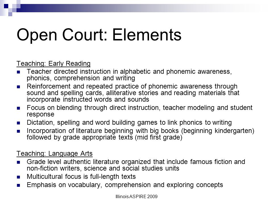 Open Court: Elements Teaching: Early Reading