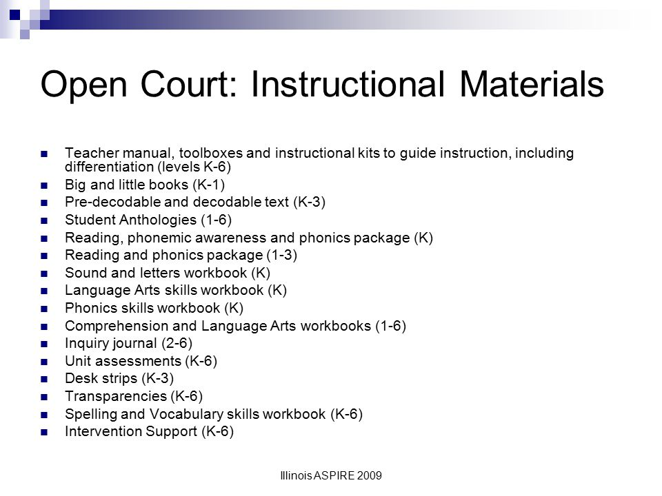 Open Court: Instructional Materials