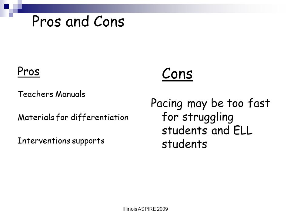 Pros and Cons Pros. Teachers Manuals. Materials for differentiation. Interventions supports. Cons.