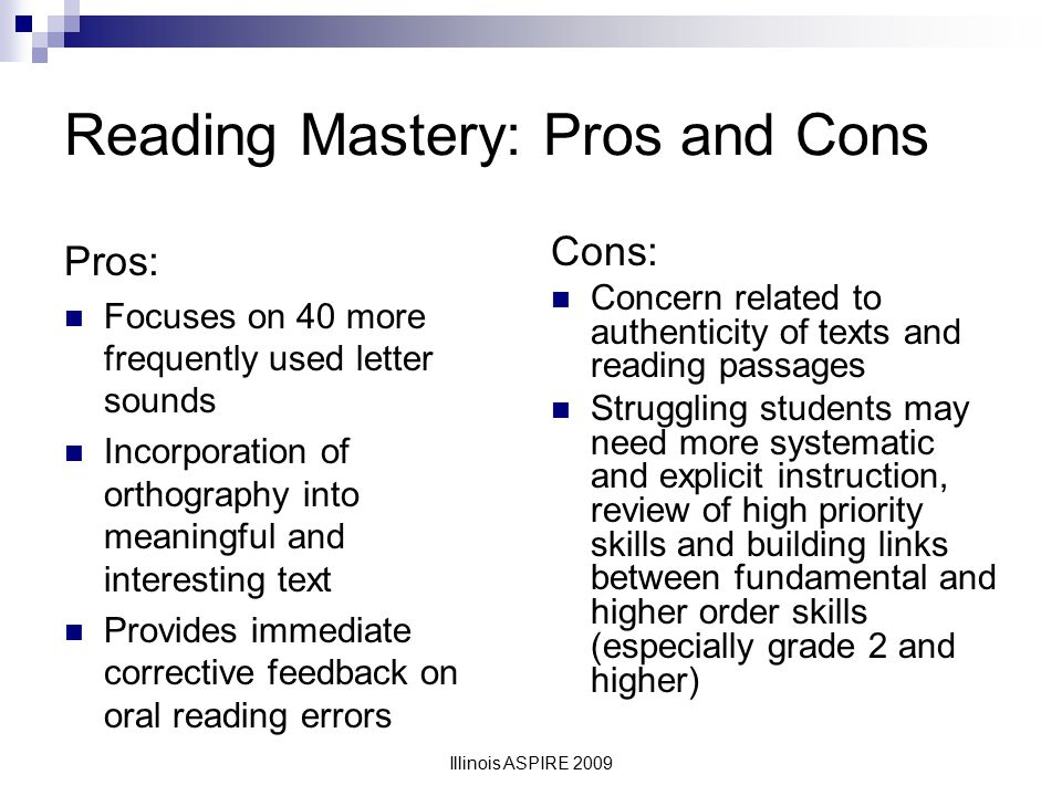 Reading Mastery: Pros and Cons