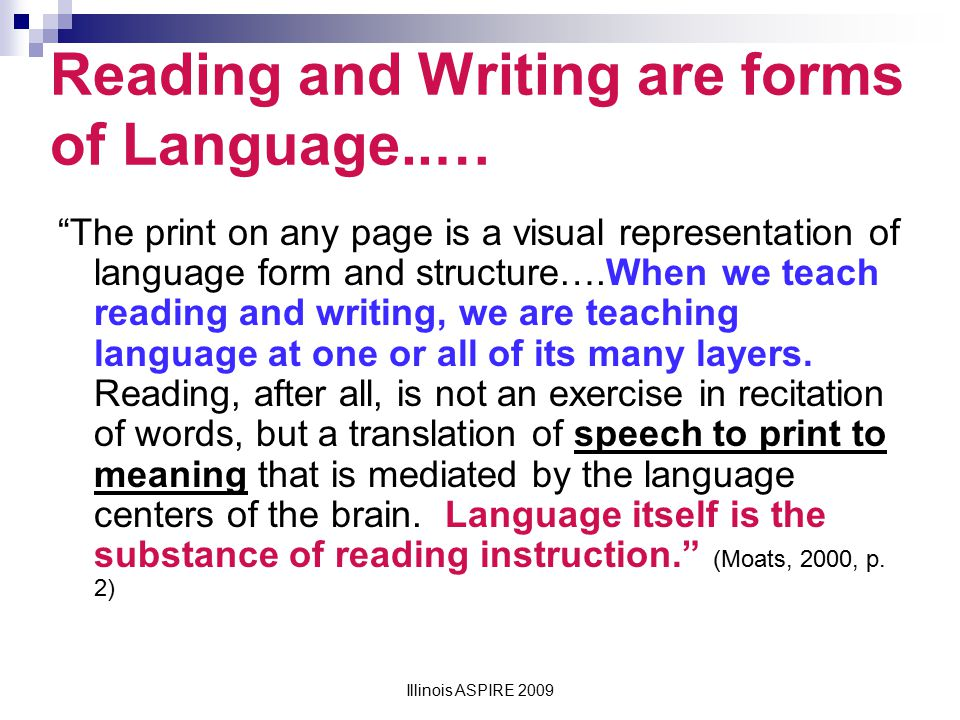 Reading and Writing are forms of Language..…