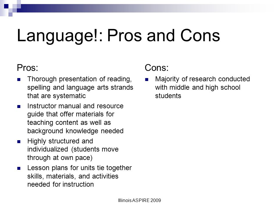 Language!: Pros and Cons