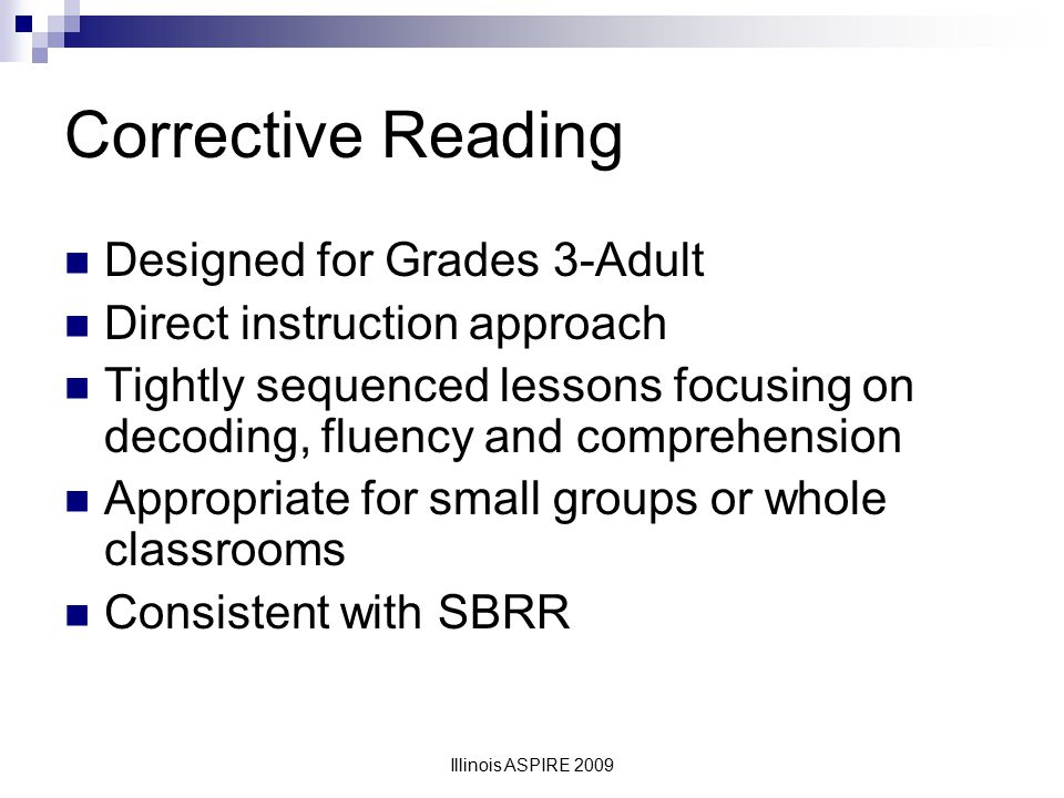Corrective Reading Designed for Grades 3-Adult