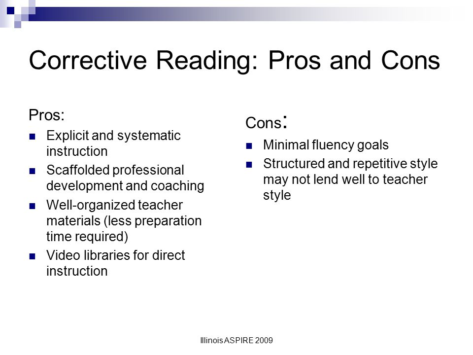Corrective Reading: Pros and Cons