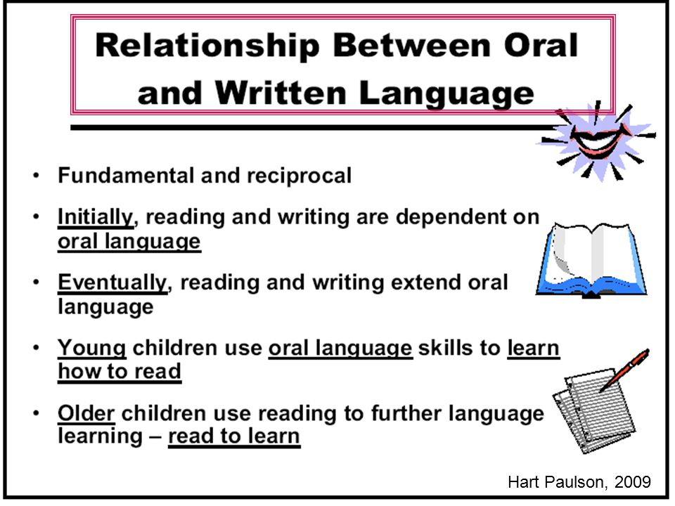 So, this strong and critical relationship between oral language and print/written language is part of the science of reading. Young children use oral language skills to learn to read. Older children use knowing how to read to further their learning- reading to learn. Learning to Read requires that students can crack the code and know the alphabetic principle.