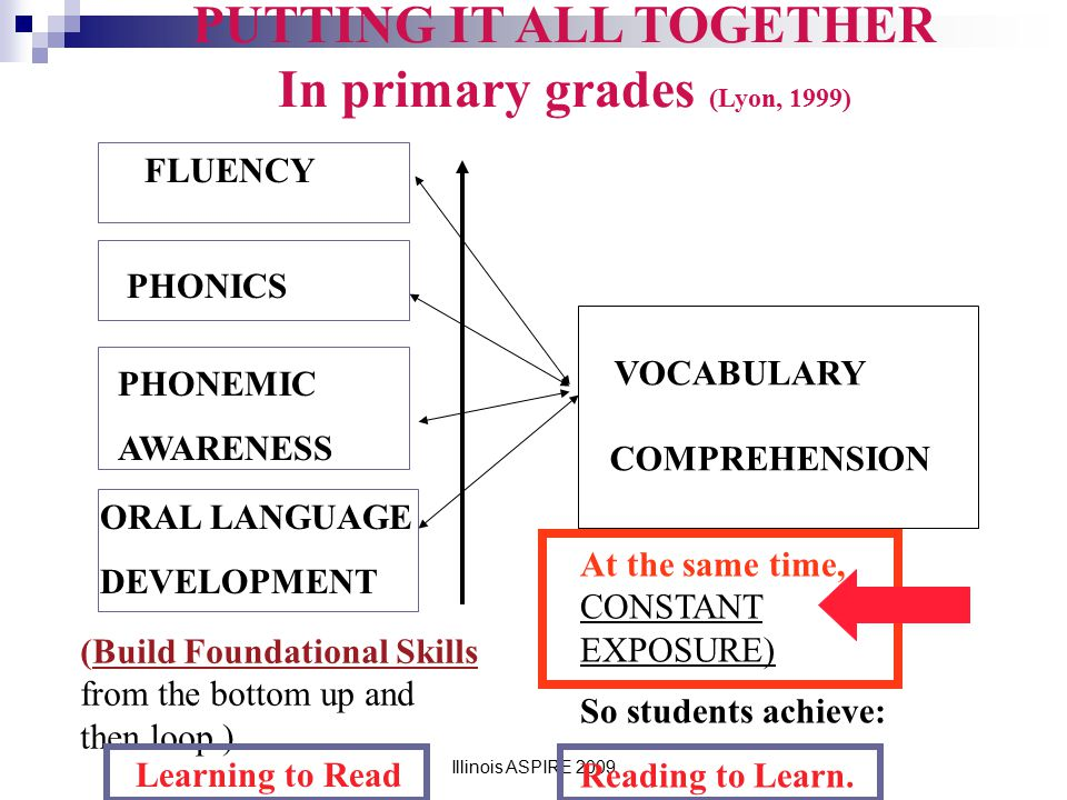 PUTTING IT ALL TOGETHER In primary grades (Lyon, 1999)