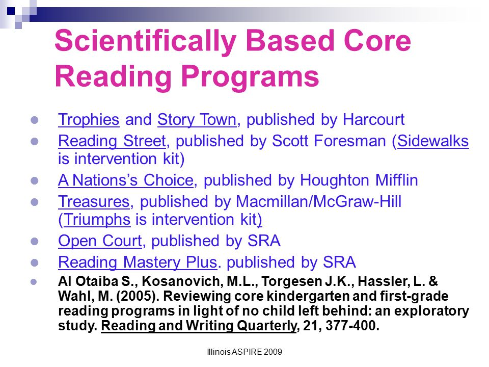 Scientifically Based Core Reading Programs