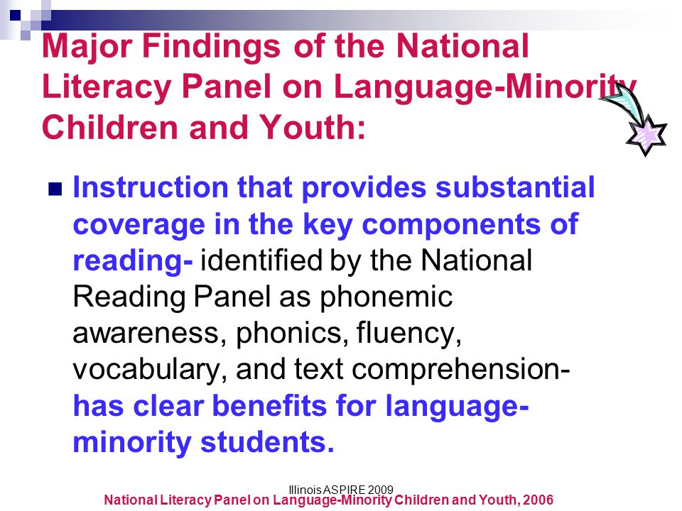 Major Findings of the National Literacy Panel on Language-Minority Children and Youth:
