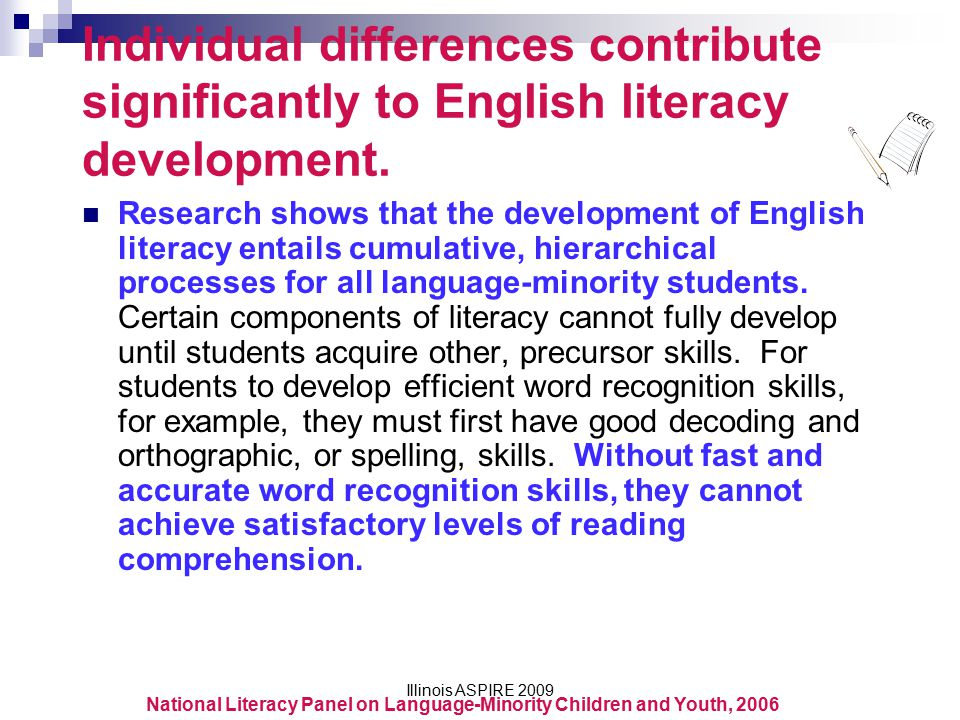 Individual differences contribute significantly to English literacy development.