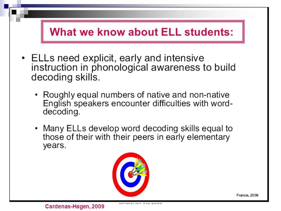 What we know about ELL students: