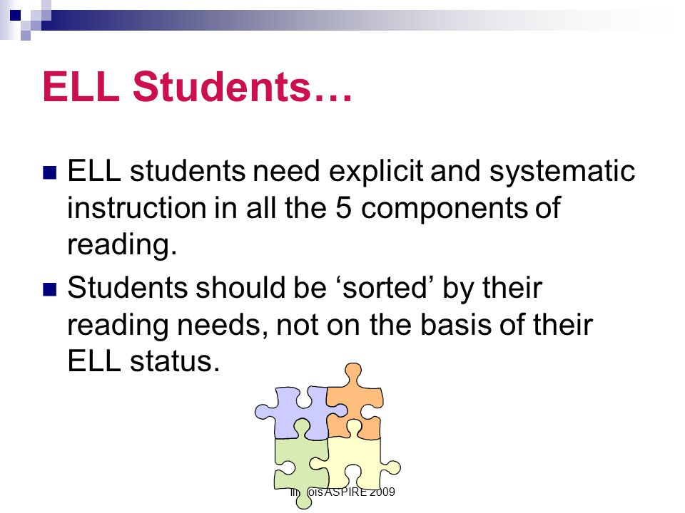 ELL Students… ELL students need explicit and systematic instruction in all the 5 components of reading.