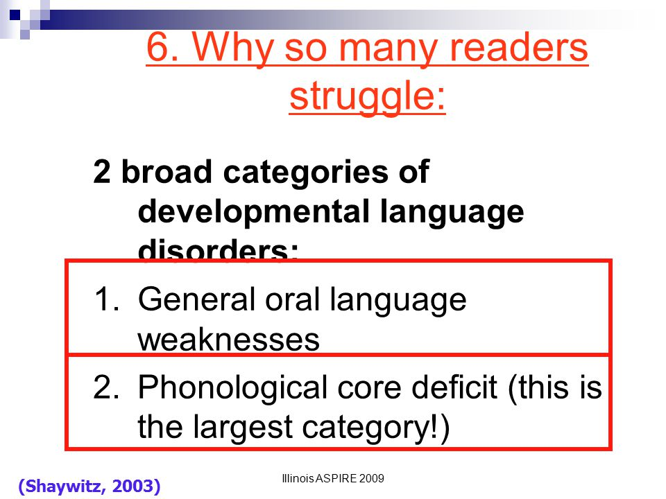 6. Why so many readers struggle: