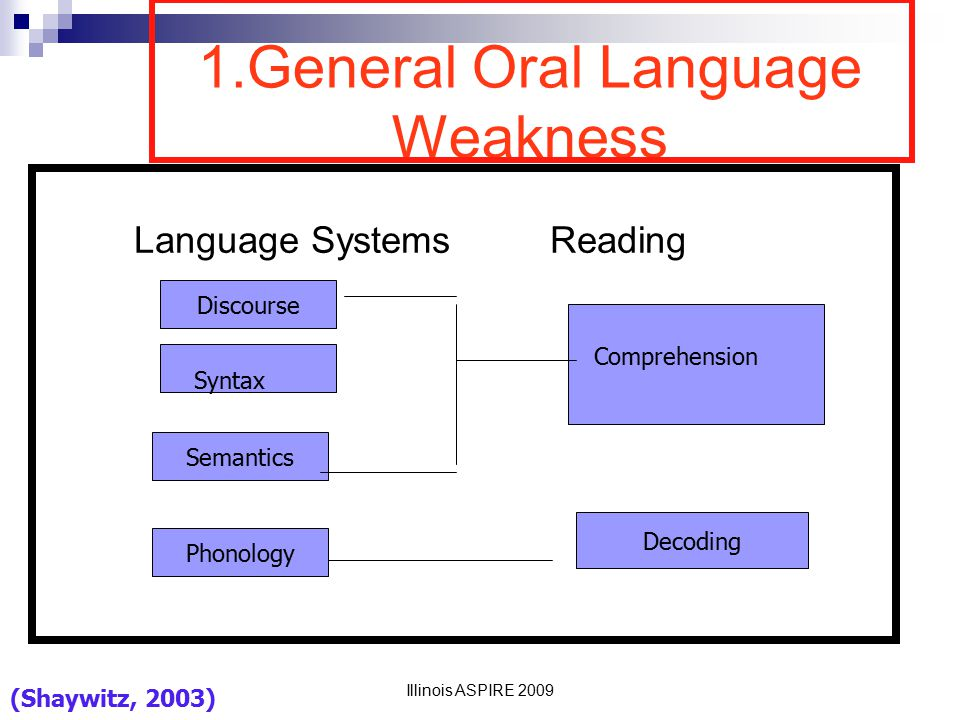 1.General Oral Language Weakness