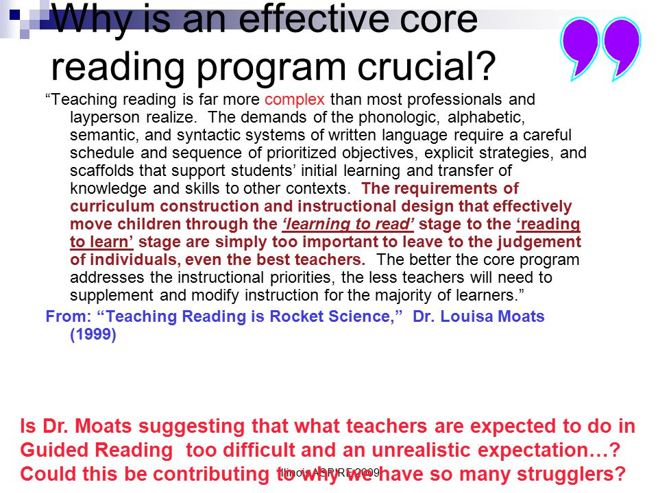 Why is an effective core reading program crucial