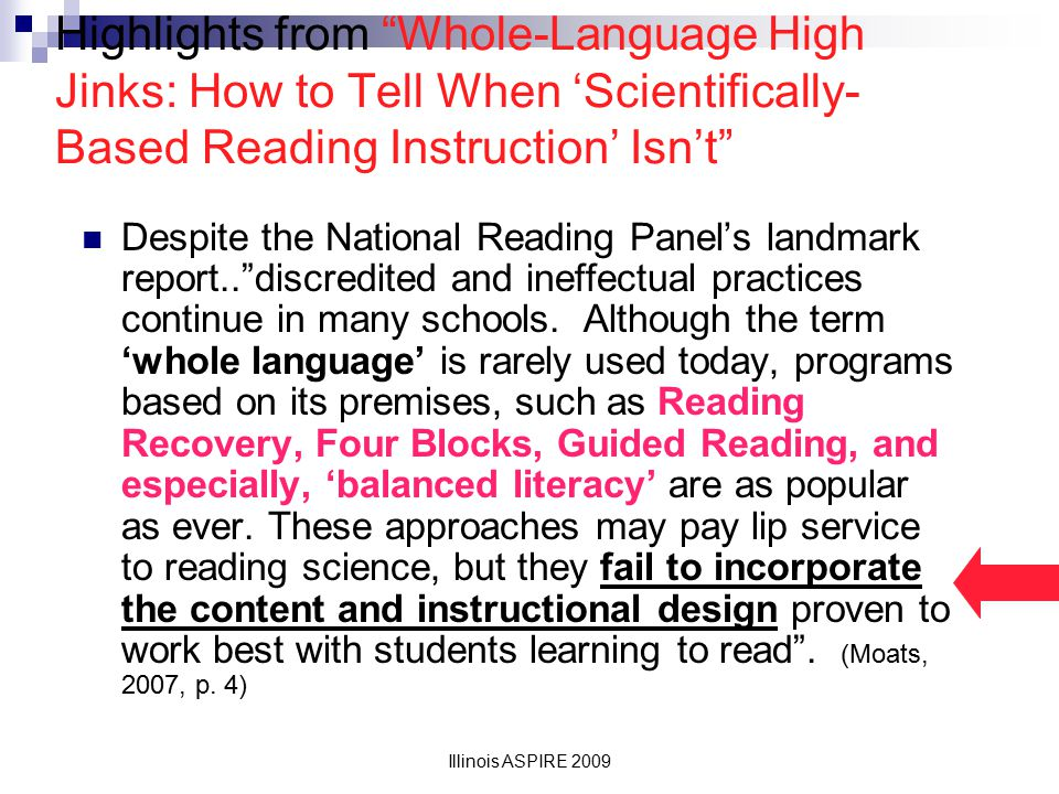 Highlights from Whole-Language High Jinks: How to Tell When 'Scientifically-Based Reading Instruction' Isn't