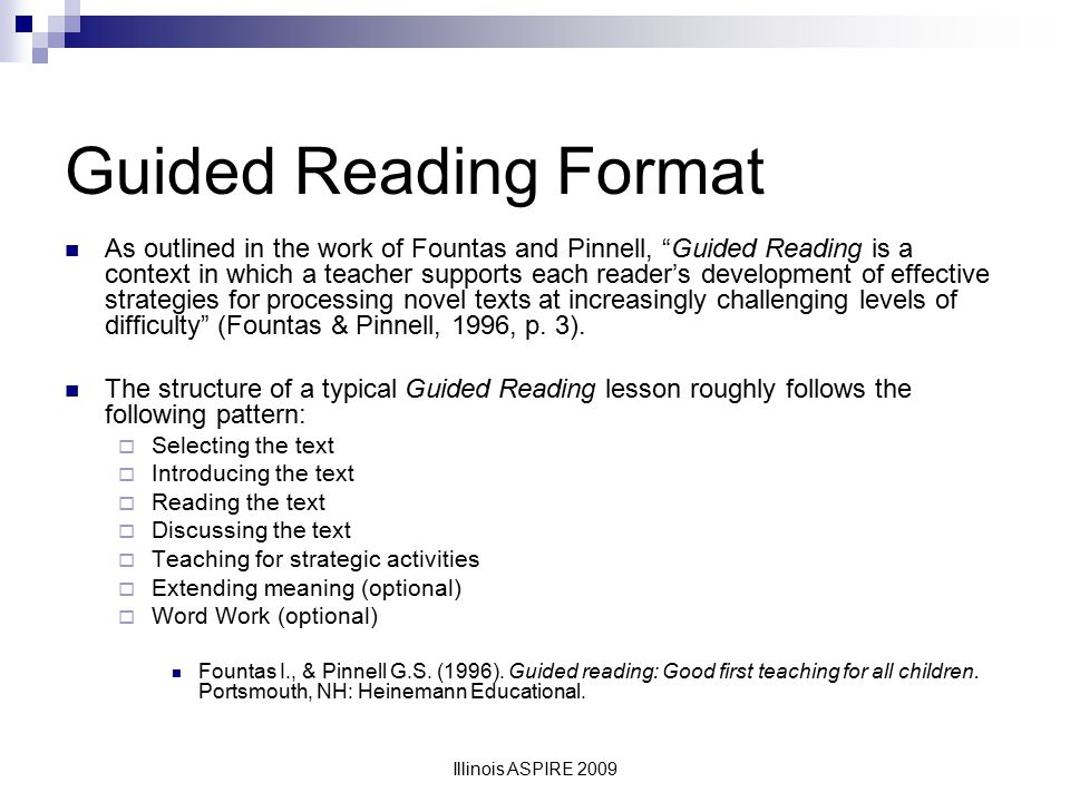 Guided Reading Format