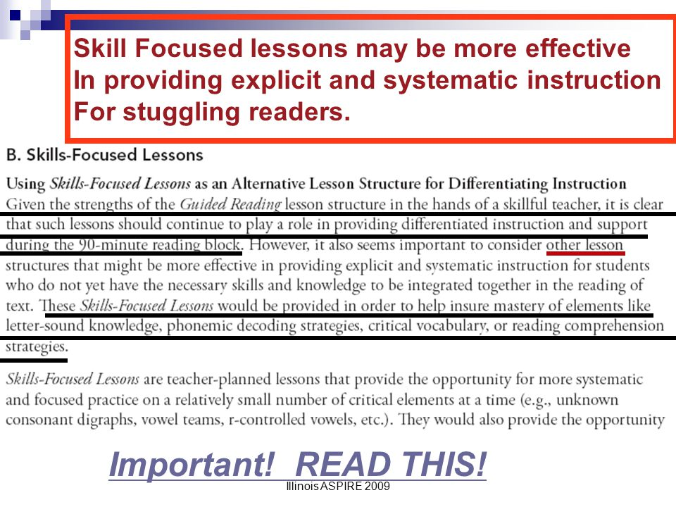 Important! READ THIS! Skill Focused lessons may be more effective