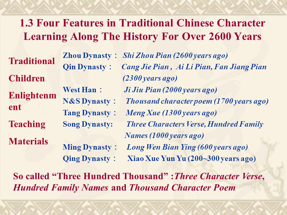1.3 Four Features in Traditional Chinese Character Learning Along The History For Over 2600 Years