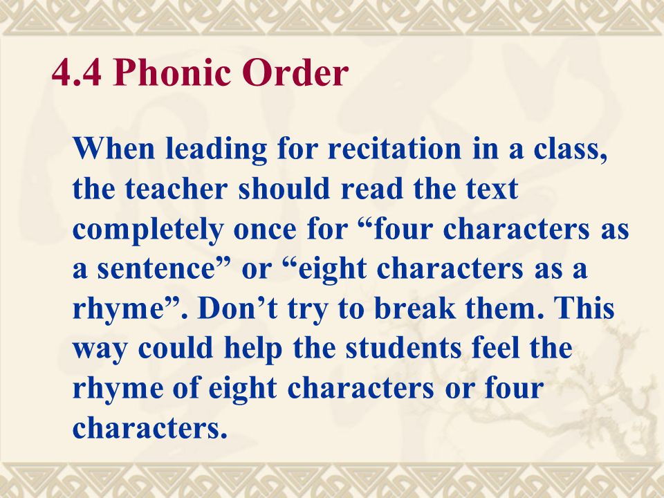 4.4 Phonic Order