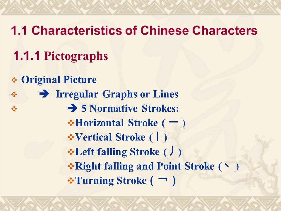 1.1 Characteristics of Chinese Characters