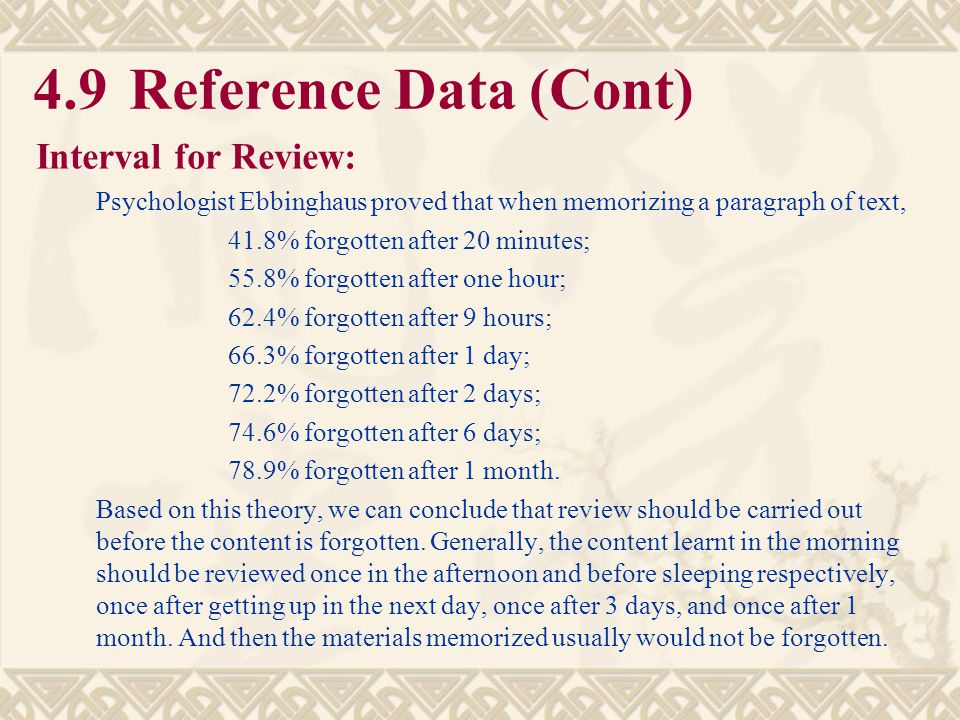 4.9 Reference Data (Cont) Interval for Review:
