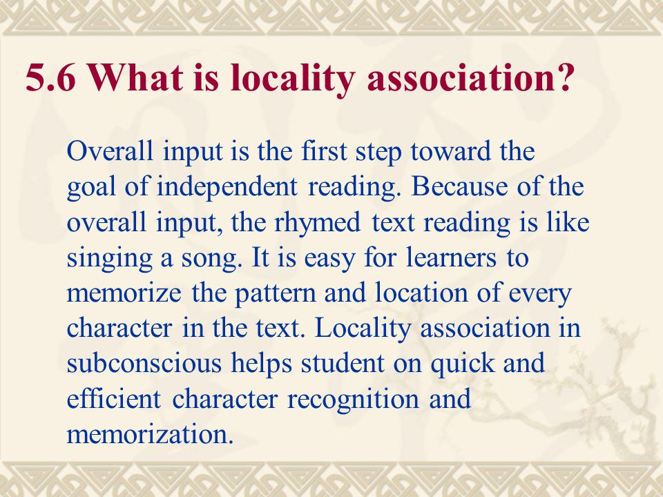 5.6 What is locality association