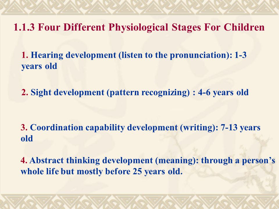 1.1.3 Four Different Physiological Stages For Children