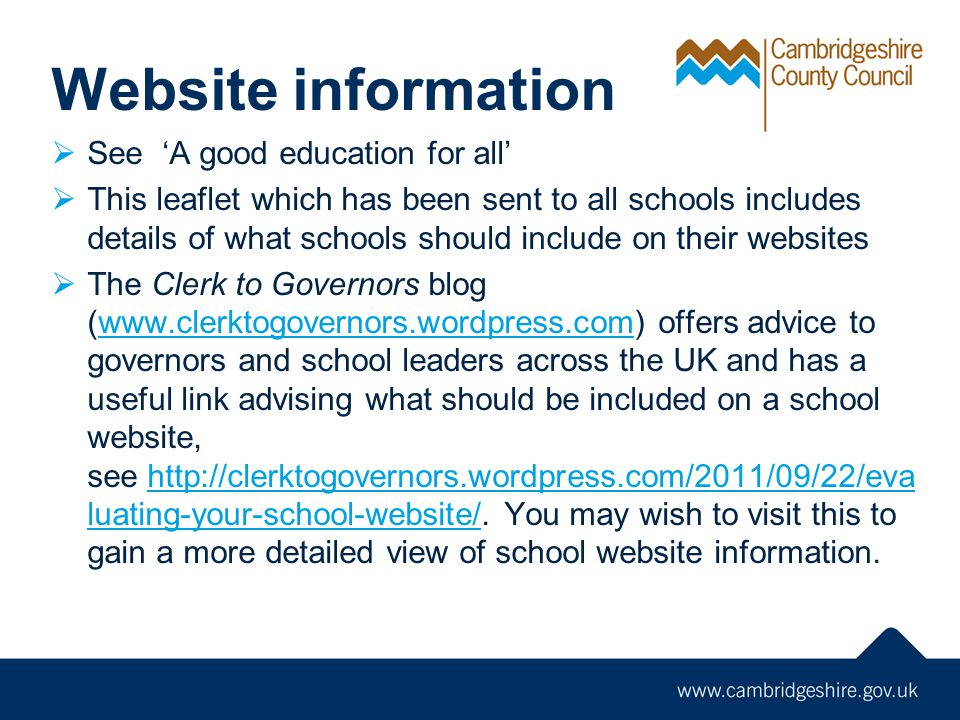 Website information See 'A good education for all'