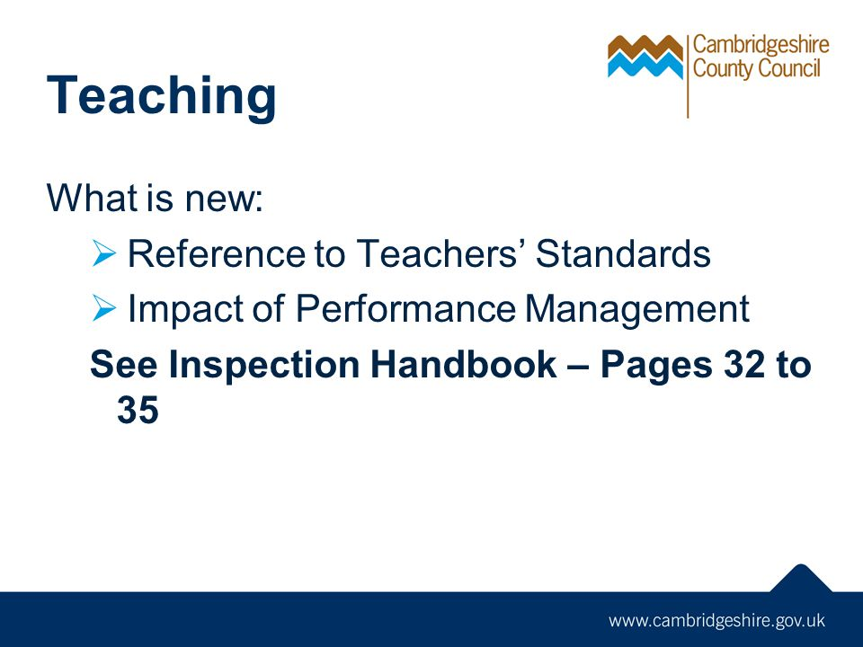 Teaching What is new: Reference to Teachers' Standards