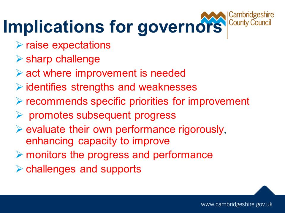 Implications for governors