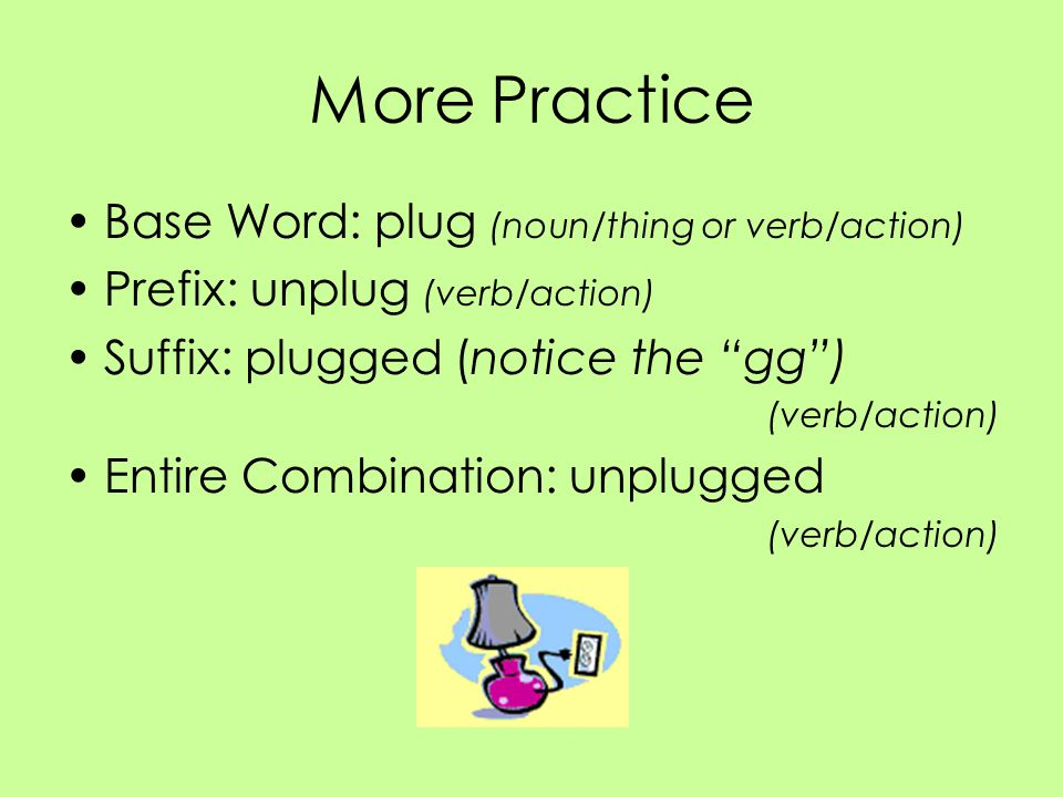 More Practice Base Word: plug (noun/thing or verb/action)