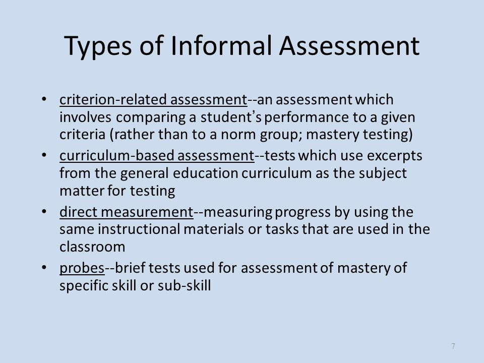 informal writing assessment tests