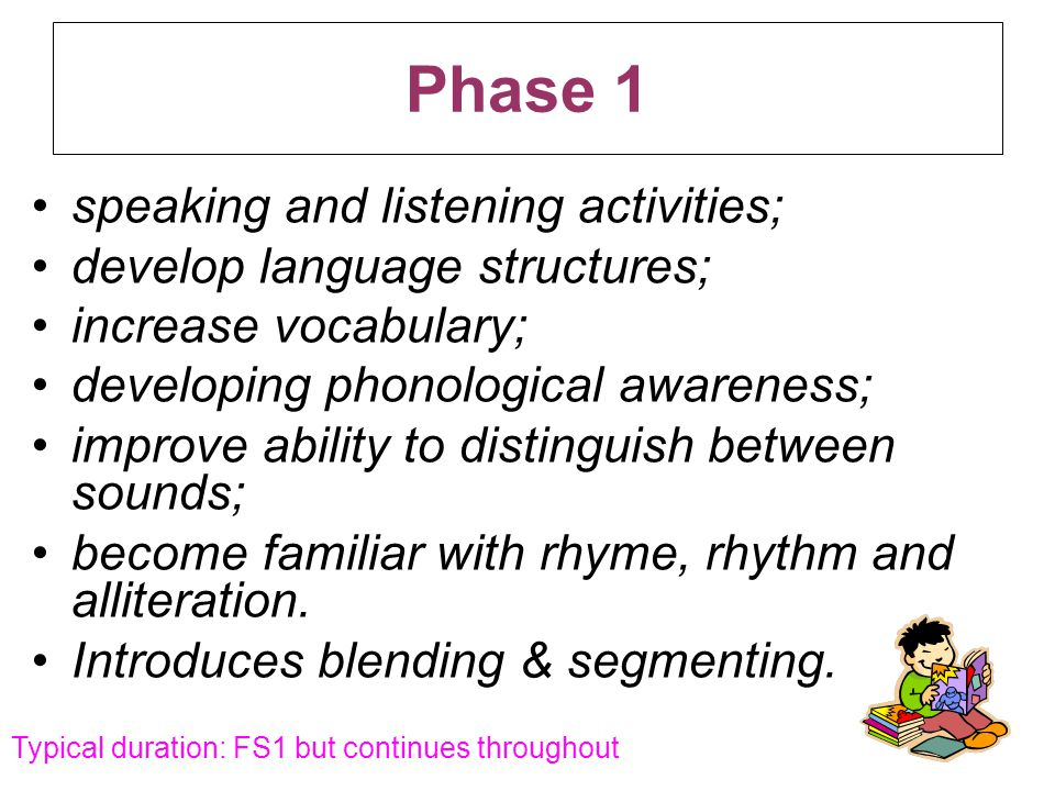 Phase 1 speaking and listening activities;