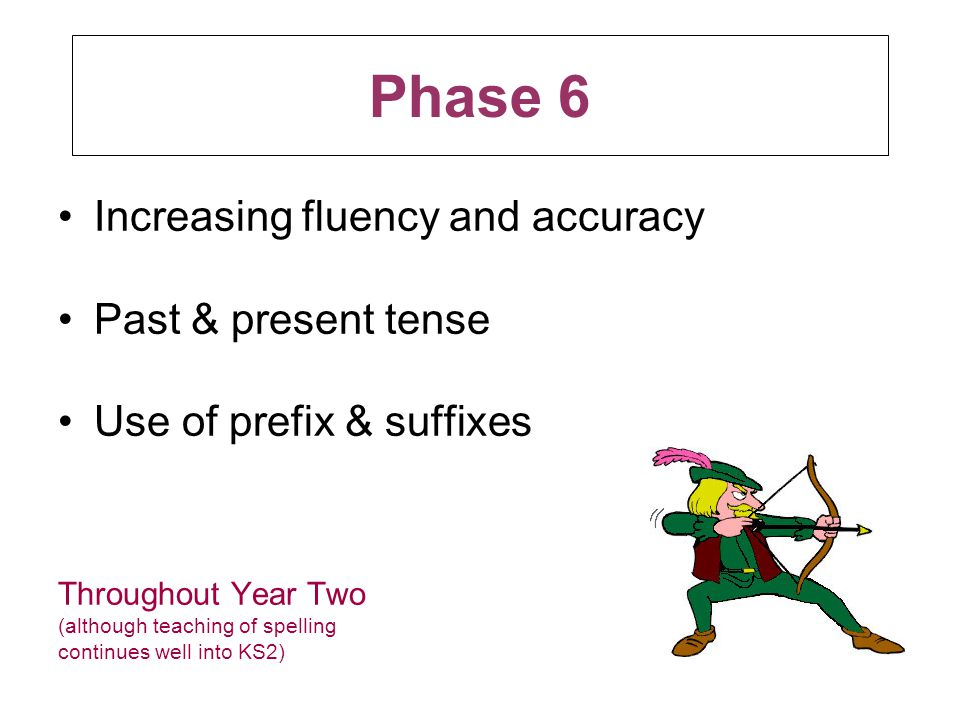 Phase 6 Increasing fluency and accuracy Past & present tense
