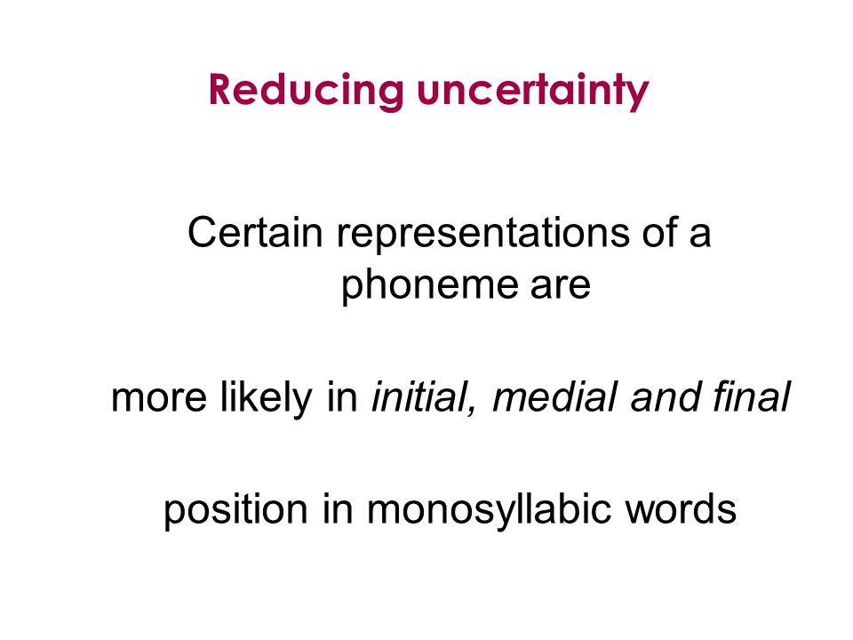Certain representations of a phoneme are