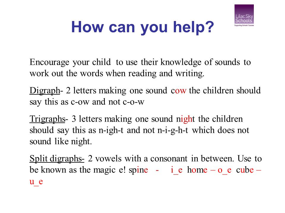 How can you help Encourage your child to use their knowledge of sounds to work out the words when reading and writing.